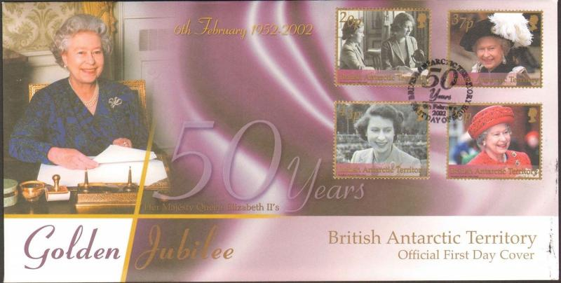 2002 BRITISH ANTARCTIC TERRITORY FIRST DAY QUEEN ELIZABETH GOLDEN JUBILEE