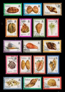 Belize #471-487 Sea Shells Set of 17; CTO (5Stars)