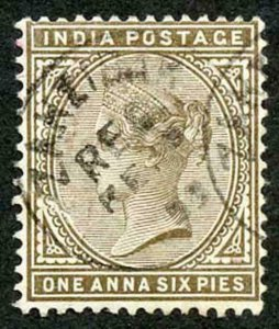 Zanzibar SGZ84 1882-90 India 1a 6p Sepia with CDS (type Z6) Used
