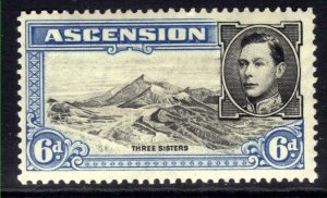 Ascension Island 1938 - 53 KGV1 6d Blue & Black MM Perfs 13 1/2 SG 43 ( F78 )