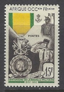 French West Africa, Scott #57; 15fr Military Medal Issue, MH