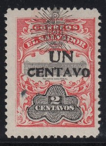 El Salvador 1908 1c on 2c with Black Surcharge VLM Mint. Scott 368