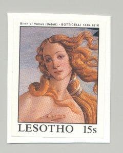 Lesotho #660 Art, Botticelli 1v Imperf Proof Mounted on Card