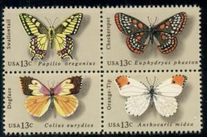 1712-15 13c Butterflies Block of 4 Mint NH VF