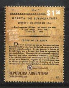 ARGENTINA 2010 JOURNALISM GAZETA BUENOS AIRES 200° ANIV YV 2854 MNH
