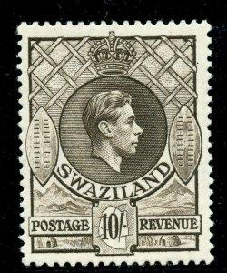 Swaziland 1938 KGVI 10s sepia (p13½x13) superb MNH. SG 38.