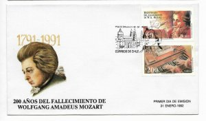 CHILE 1992 W. A. MOZART BICENTENARY OF DEATH MUSIC FDC FIRST DAY COVER