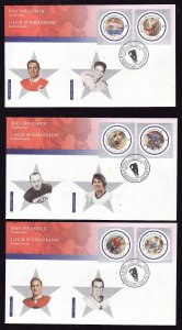 Canada-Sc#1885a-f-stamps on  FDCs-Hockey-Sports-NHL All Stars-Jean Beliveau,Terr