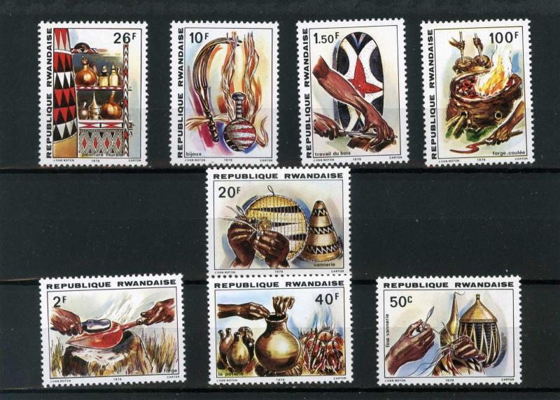 RWANDA 1979 Sc#926-933 FOLK ART SET OF 8 STAMPS MNH