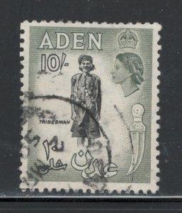 Aden 1954 Queen Elizabeth Definitive 10sh Scott # 60 U