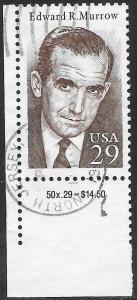 US 2812 Used - Edward R, Murrow, Journalist (1908-65) - Inscription Selvedge