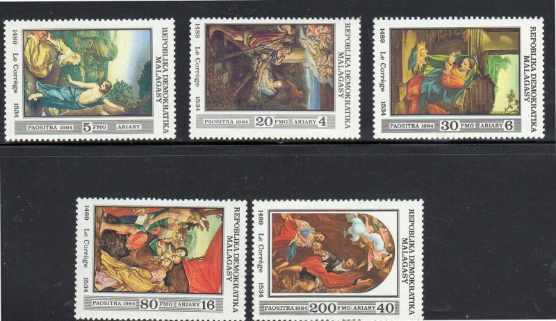 MALAGASY #685-689  1984 CHRISTMAS PAINTINGS  MINT  VF NH  O.G