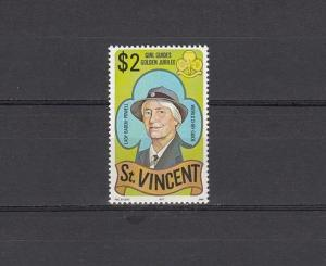 St. Vincent, Scott cat. 507. Girl Guide value with Dates missing.