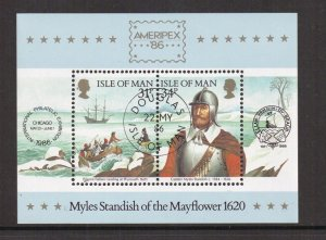 Isle of Man  #311a  cancelled 1986  sheet settling of PLymouth