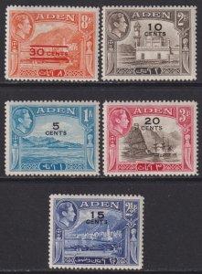 1951 Aden surcharge short surcharge set MMH Sc# 36 37 38 39 40 CV: $2.40