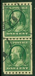 EDW1949SELL : USA 1910 Scott #390 Coil Line pair. Very Fine, Used. Catalog $125.