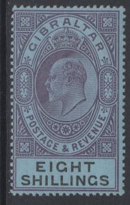 GIBRALTAR SG54 1903 8/= DULL PURPLE & BLACK/BLUE MTD MINT