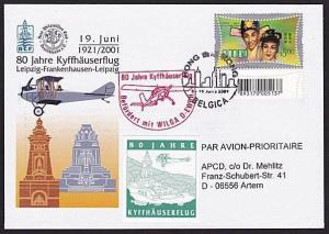 HONG KONG 2001 80th Anniv flight cover to Germany...........................8337