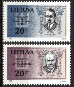 Lithuania 1995 National Day Persons Signatories set of 2 MNH