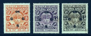 COCHIN INDIA 1933-38 OFFICIALS Overprinted ON C G S SG O40 to SG O42 MINT