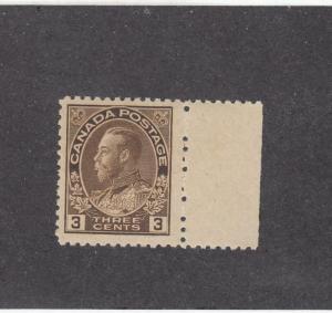 CANADA (MK206) # 134 VF-MNH  3cts  KING GEORGE V ADMIRAL /W MARGIN CAT VALUE $50