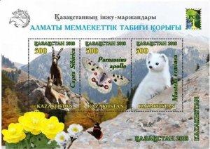 Kazakhstan 2018 MNH Stamps Souvenir Sheet Mountains Animals Goat Butterfly Flowe