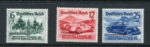 Germany 1939 Sc B141-3 MI 695-7 MH Overprint  Nurburgring Auto Races