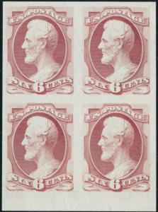 #159P3 PLATE PROOF ON INDIA BLOCK OF 4, SUPERB WITH HUGE MARGINS HV4008