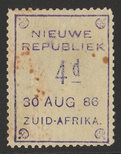 TRANSVAAL - NEW REPUBLIC 1886 (30 Aug) 4d violet on yellow paper.