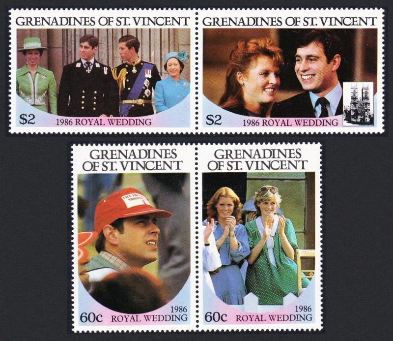 St. Vincent Grenadines MNH 239-40 Pairs Royal Wedding Prince Andrew & Sarah