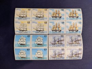 Samoa 543-6 blocks of 4 XFNH complete set, CV $7.80
