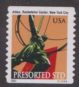 US #3770 Atlas Statue Used PNC Single plate #V11111