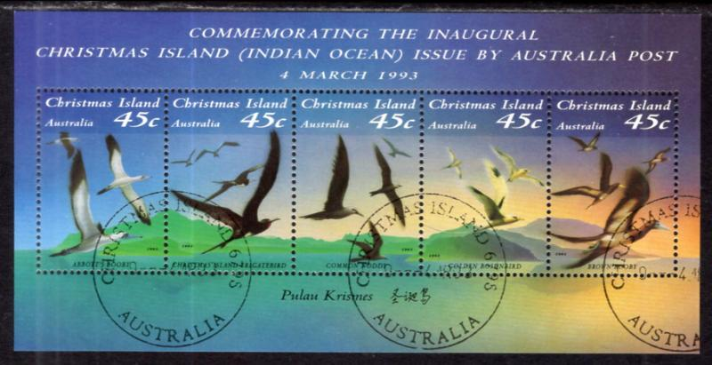 Christmas Island 349f Birds Souvenir Sheet Used VF