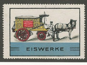 Ice Delivery Truck, Germany, Early Poster Stamp, Cinderella Label