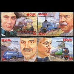 St. Vincent Bequia MNH 237-40 Railroad Engineers & Locomotives SCV 3.50