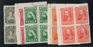 Newfoundland #78 - #82 Mint Fine - Very Fine Blocks