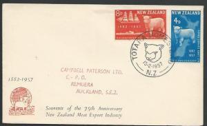 NEW ZEALAND 1957 Sheep commem FDC, Totara Homestead commem Sheep cds.......12481