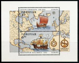1992 Faroe Islands 233-234/B5 Ships with sails / Europa Cept 9,00 €