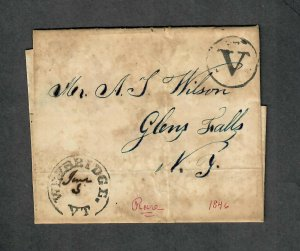 US Stampless Cover Scarce Weybridge Vermont-Red Pen Added, Cv. $125+