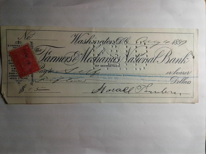 SCOTT # R 164 DOCUMENTARY REVENUE STAMP ON FARMERS NATIONAL BANK CHECK 1899