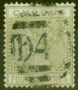 Cyprus 1881 4pi Pale OLive Green SG14 Fine Used