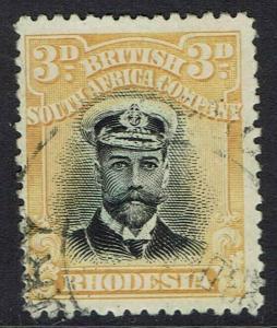 RHODESIA 1913 KGV ADMIRAL 3D DIE I PERF 14 USED