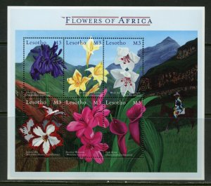 LESOTHO  FLOWERS SHEET OF AFRICA MINT NH