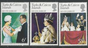 Turks & Caicos # 321-33 QE II Silver Jubilee  (3) Mint NH