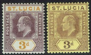 ST LUCIA 1904 KEVII 3D BOTH COLOURS WMK MULTI CROWN CA