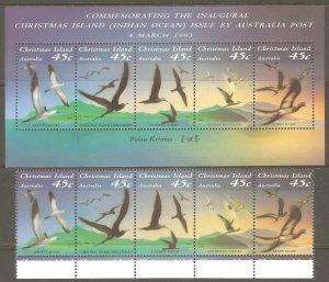 CHRISTMAS ISLAND Sc# 349 - 349f MNH FVF Set-Strip+ Souv Sht Sea Bird Frigatebird