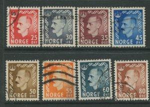 STAMP STATION PERTH Norway #310-317 King Haakon VII Issue 1950 FU