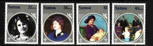 Samoa-Sc#649-52-Unused NH set-Queen Mother-85th Birthday-1985-