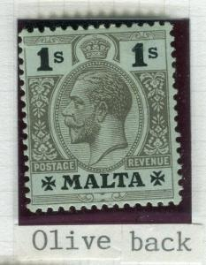 MALTA; 1914 early GV issue fine Mint hinged Shade of 1s. value