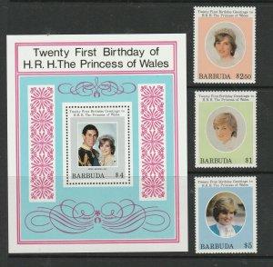 Barbuda 1982 21st Birthday Diana, set & MS UM/MNH SG 613/MS616
